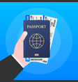 passport for travel and tourism passport in hand vector image vector image
