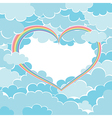 rainbow heart in the sky vector image vector image