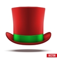 Red hat cylinder with green ribbon vector image vector image