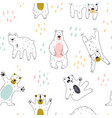 seamless childish pattern with cute bear vector image