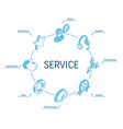 service isometric concept connected line 3d icons vector image vector image