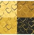 set golden hearts seamless patterns vector image