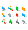 set of business 3d icons vector image