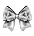 Silver gift bow isolated on white background vector image