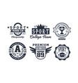 sport college team logo design set vintage vector image vector image