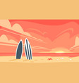 sunrise and two surfboard vector image vector image