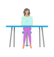 Woman freelancer sitting table with laptop