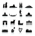 world monuments and culture icon set vector image