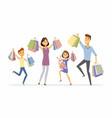 happy family enjoys shopping - cartoon people vector image