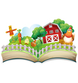 A book with an image of a farm vector image vector image
