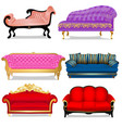 a set vintage sofas isolated on a white vector image