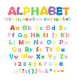 alphabet numbers and symbols vector image vector image