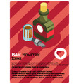 bar color isometric poster vector image