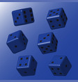 blue dice with black points vector image