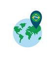 brazil gps mark on world flat style icon vector image vector image
