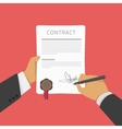 Businessman signs a contract vector image