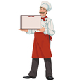 Chef presents a menu vector image vector image