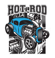 Color poster in retro style with hot rod
