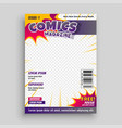 comic magazine cover template design vector image vector image