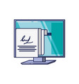 computer monitor with document report vector image vector image