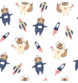 cosmic seamless pattern with cute and funny sloths vector image