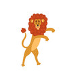 cute lion cartoon character standing on two legs vector image
