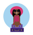 cute tanned girl traveler sitting on the luggage vector image vector image
