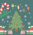 decorative tree lights balls gifts celebration vector image vector image