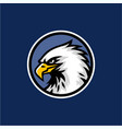 eagle head with blue background logo design vector image vector image