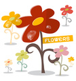 Flowers Set with Rain Drops vector image