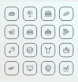 food icons line style set with burger donut vector image