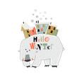 funny cartoon polar bear with little town vector image vector image