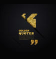 golden quote blank template on dark background vector image vector image