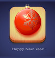 greeting card happy new year red christmas ball vector image vector image