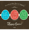 Greetings card with three colored Easter eggs vector image