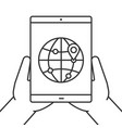 hands holding tablet computer linear icon vector image