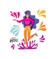 happy holi woman taking part in traditional vector image vector image