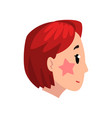 head of girl with short dyed hair profile of vector image vector image