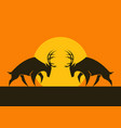 horned deers silhouettes against the sun vector image vector image