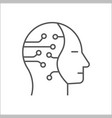 human head with cogwheels inside linear icon vector image