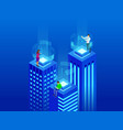 isometric intelligent buildings smart city vector image vector image