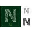 leaves alphabet letter n vector image vector image