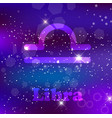 libra zodiac sign on a cosmic purple background vector image