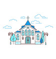 line art house christian church with trees and vector image vector image