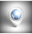 Map pointer with globe of world White icon vector image vector image