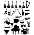 musical instruments set icons black silhouette vector image vector image