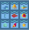 nautical animal elements wave ocean sea blue vector image