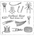 optical fiber hand drawn doodle set isolated vector image