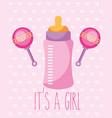 pink feeding bottle and rattles toy its a girl vector image vector image