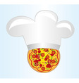pizza with chef hat vector image